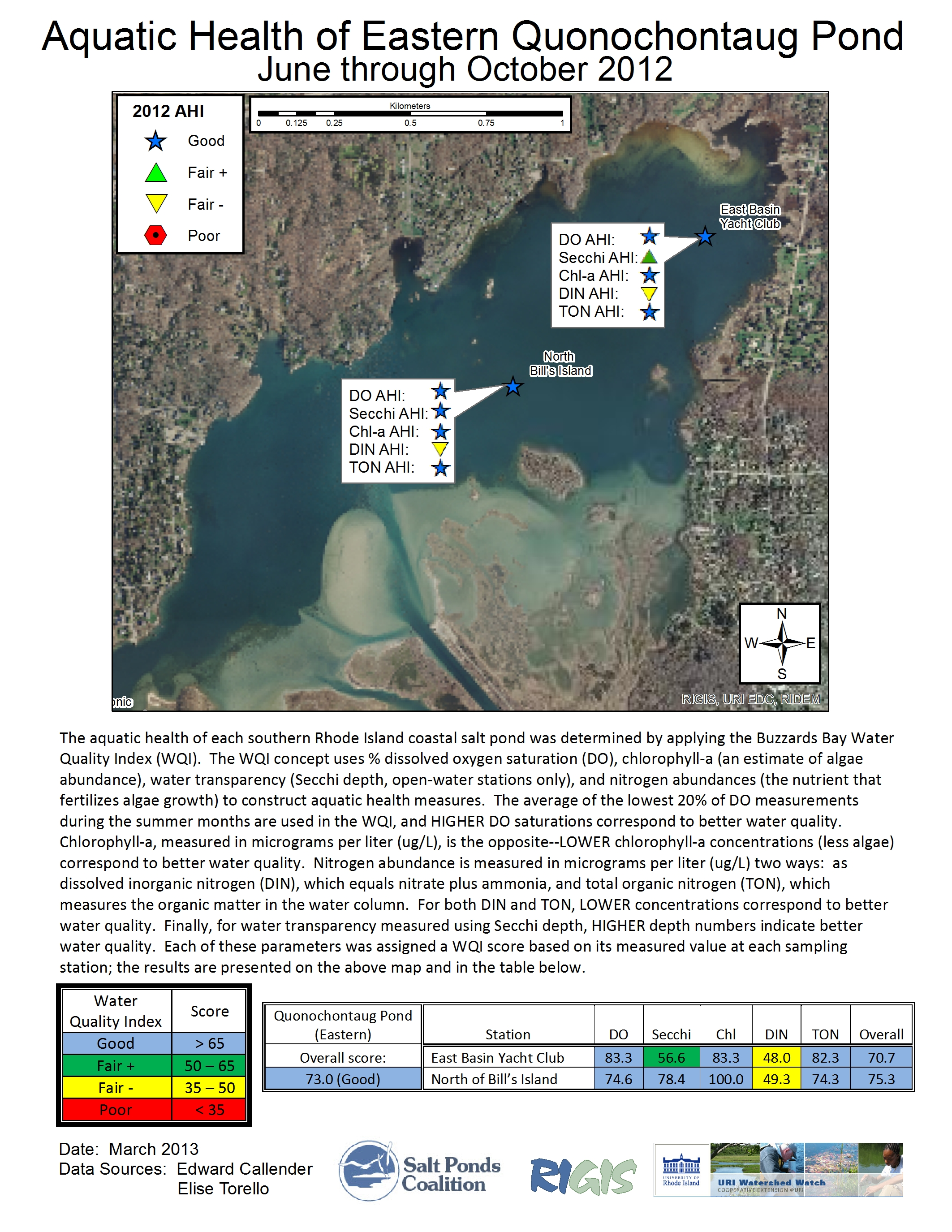 Quonochontaug pond 2012 eastern pond aquatic health index map nvjuhfo Images