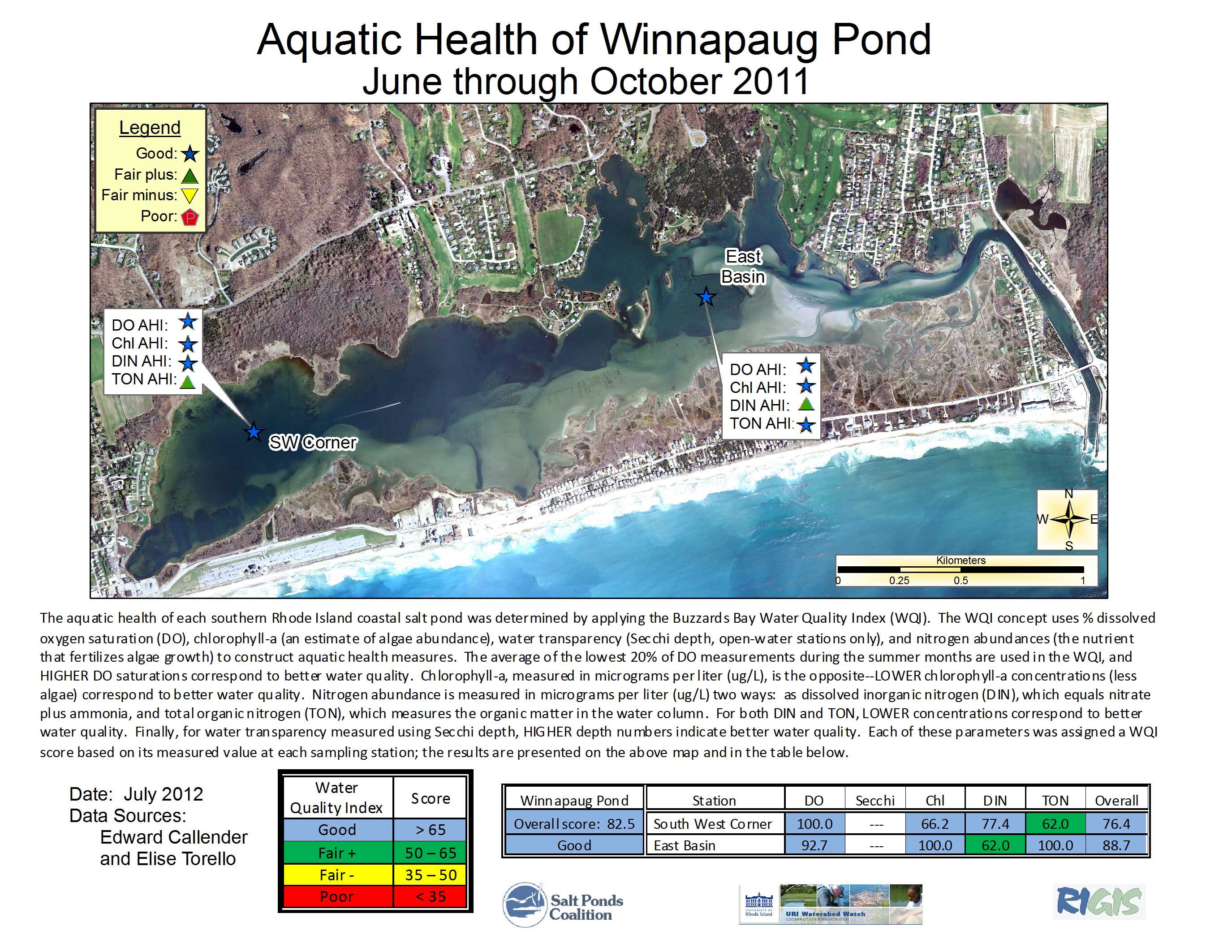 Winnapaug pond 2011 aquatic health index map nvjuhfo Images